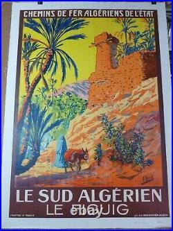 Belle Affiche Ancienne 1925 LE FIGUIG SUD ALGERIEN entoilée TBE