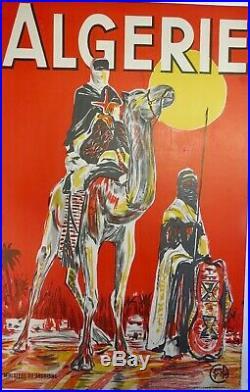 Belle Affiche Ancienne lithographique c 1930 TOUAREGS d ALGERIE par COOK