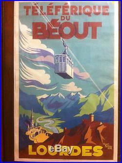belle affiche ancienne lithographie originale de1952 telepherique du beout. Black Bedroom Furniture Sets. Home Design Ideas