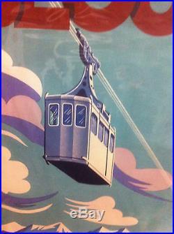Belle Affiche ancienne lithographie Originale de1952 TELEPHERIQUE DU BEOUT