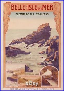 Belle Isle En Mer -bretagne -chemin De Fer De Paris A Orleans -affiche De Voyage