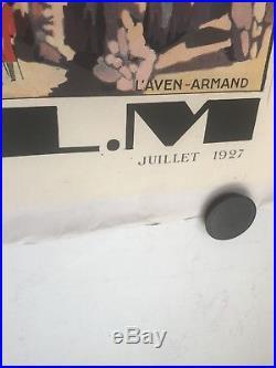 Belle affiche Ancienne Entoilee PLM Gorges Du Tarn Clermont Carcassonne Millau