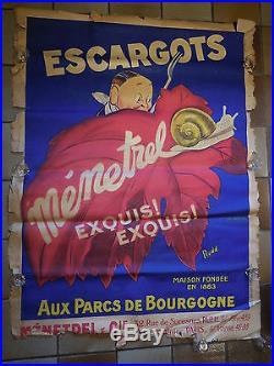Belle affiche ancienne affiche Nenetrel escagot de Paris