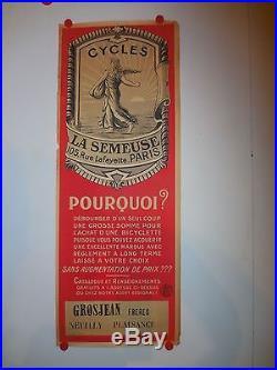 Belle affiche ancienne cycle la semeuse Neuilly plaisance 1910 velo ancien
