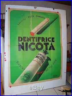 Belle affiche ancienne dentifrice Nicota pour fumeur par Maurus art deco