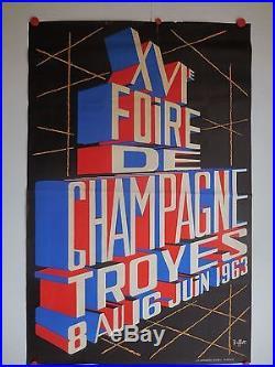 Belle affiche ancienne foire de champagne a Troyes par Buffet