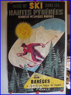 Belle affiche ancienne ski a Bareges hautes Pyrenees par Drouot annees 50