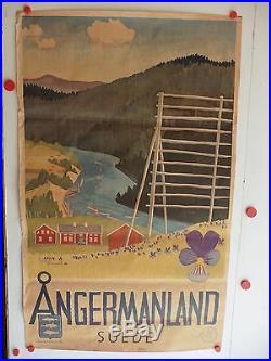 Belle affiche ancienne tourisme Angermanland Suede par Limarson 1946