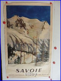 Belle affiche ancienne tourisme SNCF Savoie 1948 par Fontanarosa theme ski