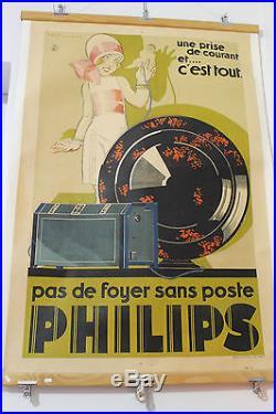 Belle affiche publicitaire haut parleur PHILIPS radio signé René Vincent