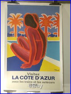Bernard VILLEMOT Visitez la COTE D'AZUR Affiche SNCF Originale de 1968