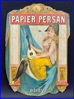 Bloc Persan Calendrier Lithographié 1892 Pierette à la Mandoline