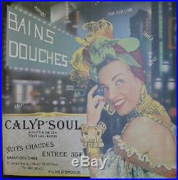 CALYP'SOUL / BAINS DOUCHES Paris Affiche originale entoilée début 80