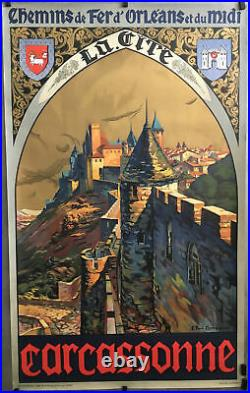 CARCASSONNE Par CHAMPSEIX Affiche orig. 1919 Chemins de Fer d'Orléans et du midi
