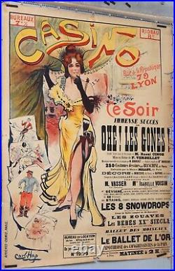 CARL HAP Affiche ancienne CASINO CE SOIR OHE LES GONES CIRCA 1890 BALLET