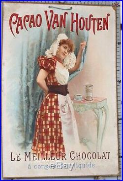CARTON PUBLICITAIRE ANCIEN CACAO VAN HOUTEN LE MEILLEUR CHOCOLAT ci 1890-1900