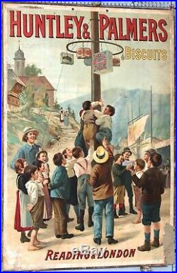 CARTON PUBLICITAIRE ANCIEN HUNTLEY PALMERS BISCUITS READING & LONDON ci1890-1900