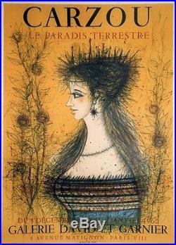 CARZOU LE PARADIS TERRESTRE Affiche originale entoilée Litho MOURLOT 1960