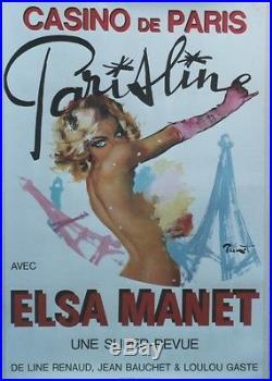 CASINO DE PARIS PARISLINE Affiche originale entoilée BRENOT 1979 TOUR EIFFEL