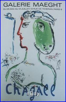 CHAGALL (L'ARTISTE PHENIX) Affiche originale entoilée Litho MOURLOT 1972