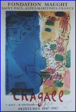 CHAGALL (LE PROFIL BLEU) Affiche dédicacée et entoilée Litho MOURLOT 1967