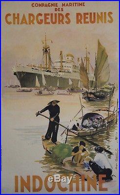 CHARGEURS REUNIS / INDOCHINE Affiche originale entoilée Roger CHAPELET 1952