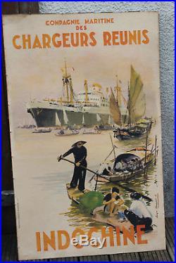 CHARGEURS REUNIS / INDOCHINE Affiche originale par Roger CHAPELET 1952