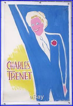 CHARLES TRENET MAQUETTE ORIGINALE GOUACHE POUR AFFICHE Circa 1930-60