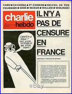 CHARLIE HEBDO N°1 du 23/11/1970 IL N'Y A PAS DE CENSURE EN FRANCE