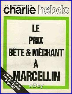 CHARLIE HEBDO N°2 du 30/11/1970 LE PRIX BÊTE & MECHANT A MARCELLIN