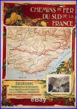 CHEMINS DE FER DU SUD DE LA FRANCE Affiche originale entoilée 82x113cm