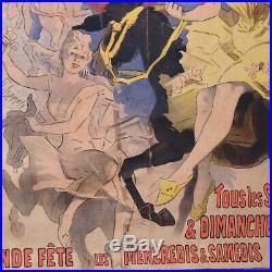 CHERET AFFICHE ANCIENNE BAL DU MOULIN ROUGE 123x87 cm, imp CHAIX cir 1896