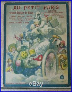CHOUBRAC CARTON PUBLICITAIRE AFFICHE ANCIENNE VERS 1890 AU PETIT PARIS Nimes