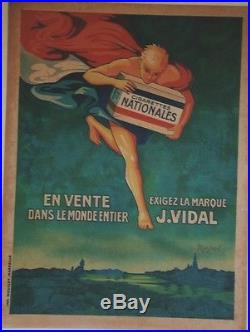 CIGARETTES J. VIDAL Affiche originale entoilée MASS'BEUF années 30 64x84cm