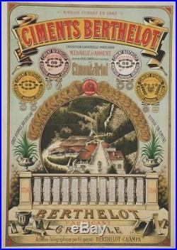 CIMENTS BERTHELOT GRENOBLE 1894 Affiche originale entoilée Litho E. CONRY