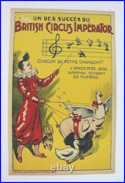 CIRQUE AFFICHE ORIGINALE BRITISH CIRCUS IMPERATOR GALICE 1900 animaux dressés