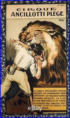 CIRQUE ANCILLOTTI PLEGE Affiche originale entoilée Litho FLORIT années 20