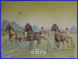 COURSE DE CHEVAUX AU TROT ATTELE Affiche entoilée Litho L. COULET 82x63cm