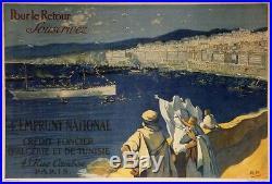 CREDIT FONCIER D'ALGERIE et TUNISIE 1917 Affiche origin. Entoilée R. P. 118x82cm