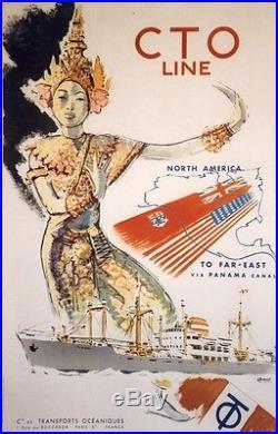 CTO LINE Paquebot TOHORO Affiche originale entoilée Litho 1960 BRENET 68x101cm