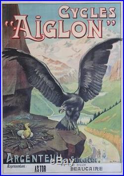 CYCLES AIGLON Affiche originale entoilée Litho Georges VALLEE 1901 103x144cm