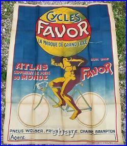 CYCLES FAVOR Atlas supportant le poids du monde ancienne affiche publicitaire