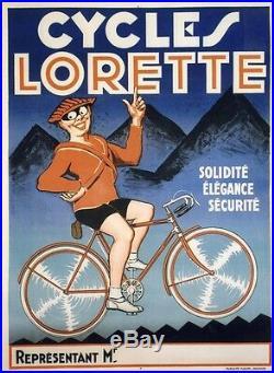 CYCLES LORETTE Affiche originale entoilée Litho fin des années 20 123x163cm