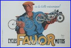 CYCLES MOTOS FAVOR Affiche originale entoilée 1937 Litho P. BELLANGER 64x44cm