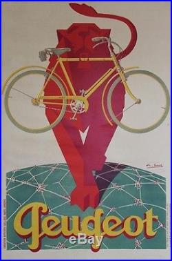 CYCLES PEUGEOT Affiche originale entoilée Litho G. FAVRE vers 1930 83x124cm