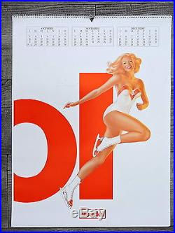 Calendrier vintage Pin up Veedol huile 1983