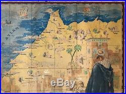 Carriat Rolant Rare Affiche Litho Carte Du Maroc 1947 Vintage Poster