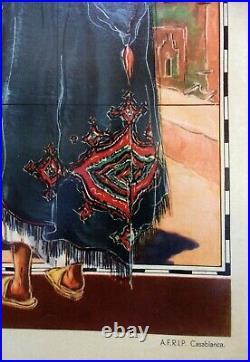 Carte du MAROC RARE Affiche Ancienne Originale par CARRIAT-ROLANT 1947