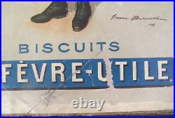 Carton Ancien Pub Publicitaire Biscuits Lu Lefèvre Utile Firmin Bouisset 1897