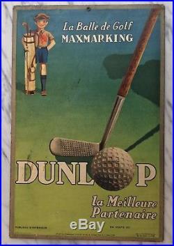 Carton Publicitaire Ancien Golf Sport Dunlop Maxmarking Nudelman 1930 N Affiche